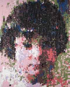 Lego paint machine portrait of young  girl by Tom Lohre.