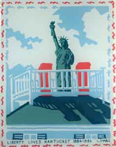 Four color reverse silkscreen print on glass of Nantucket cupola with the Statue of Liberty  celebrating the anniversary of the statue in 1986 by Tom Lohre.