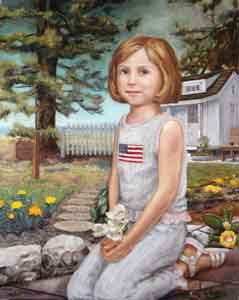 Oil painting portrait of young girl by Tom Lohre.