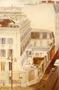 Paris city view from abve oil painting by Tom Lohre
