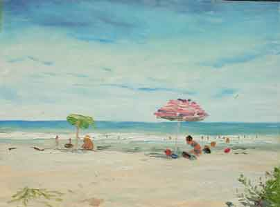 Oil painting of beach goers by Tom Lohre
