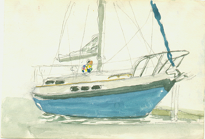 Watercolor of Morgan 36' sailboat by Tom Lohre