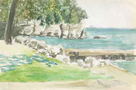 Watercolor of Sandusky by Tom Lohre