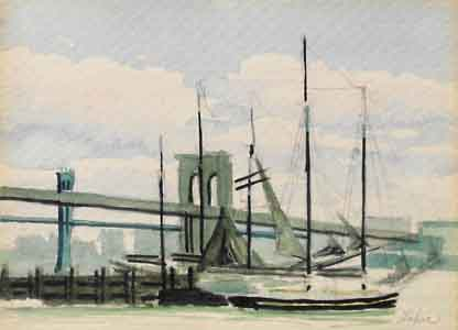 Watercolor of South Street Seaport New York by Tom Lohre
