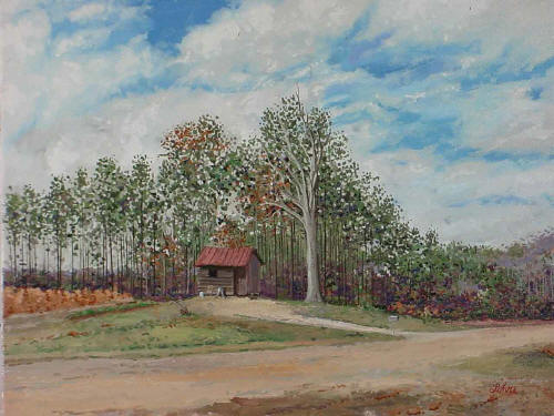 "Slater Road, Morrisville NC, February 9 1999, Oil on canvas, 16"" x 12"", by Tom Lohre"