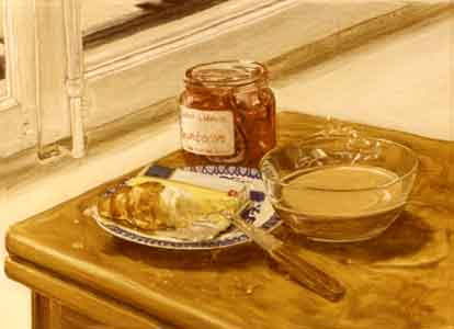 Oil painting stillife by Tom Lohre painted in  Eurpoe  with bowl of coffee, butter, knife,  croissant and conserves de France.