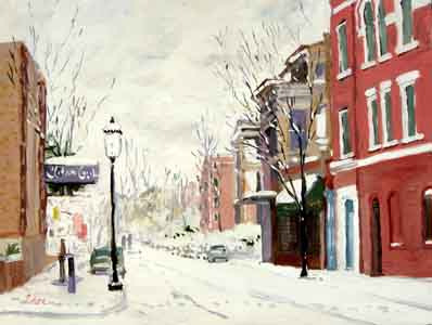 Impressionist oil painting of Telford Avenue, Clifton, Cincinnati, Ohio by Tom Lohre.