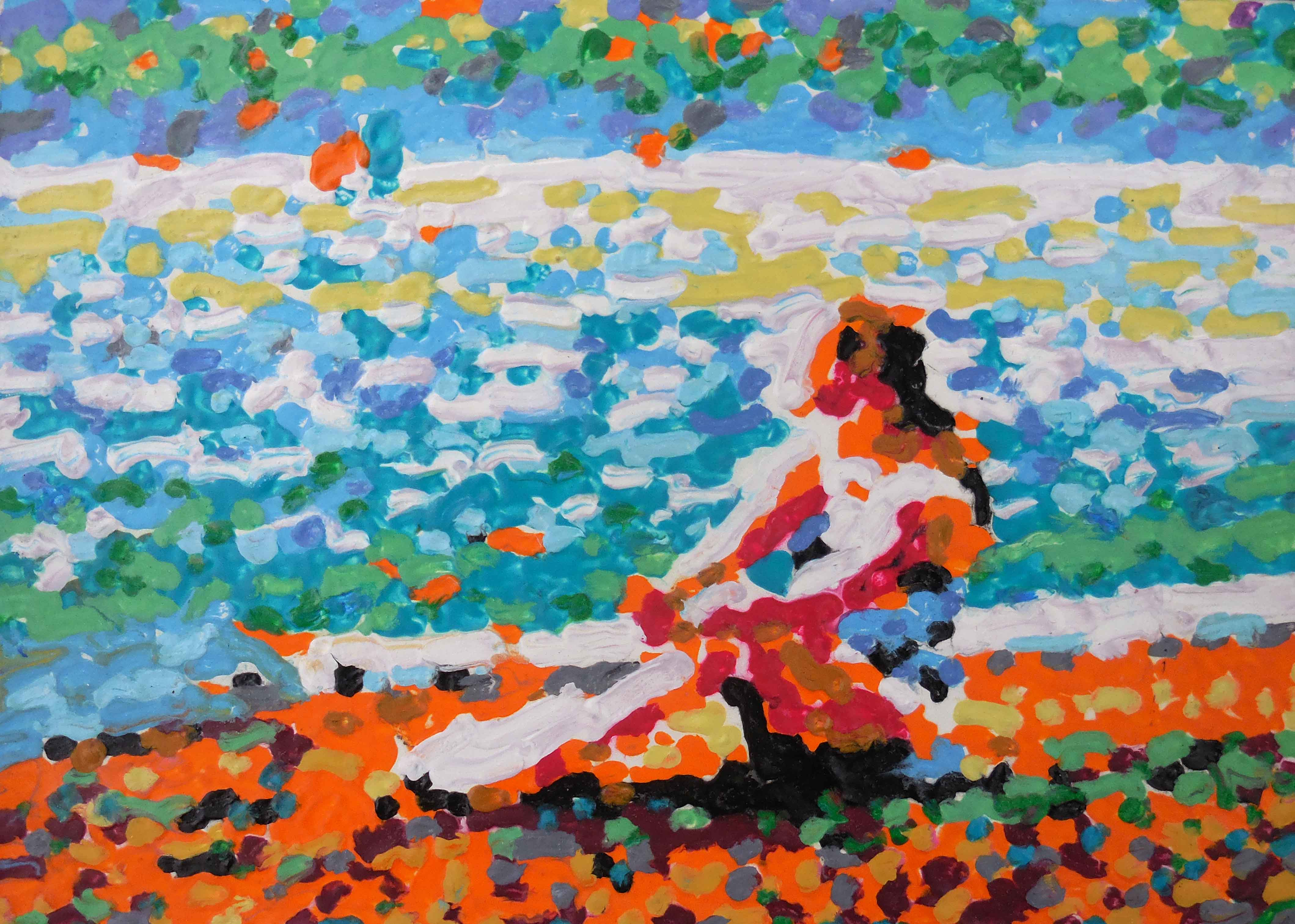 Helen gazing out on lake zurich impressionist oil painting by tom lohre